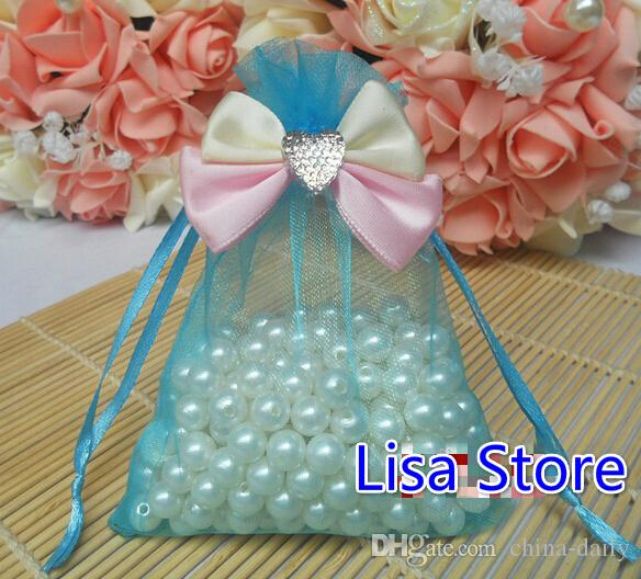 FreeShip Various Sizes Heart Organza Bags Bowknot Butterfly Business Promotional Packaging Bag Sachet Candy Beads Christmas Gift Bags