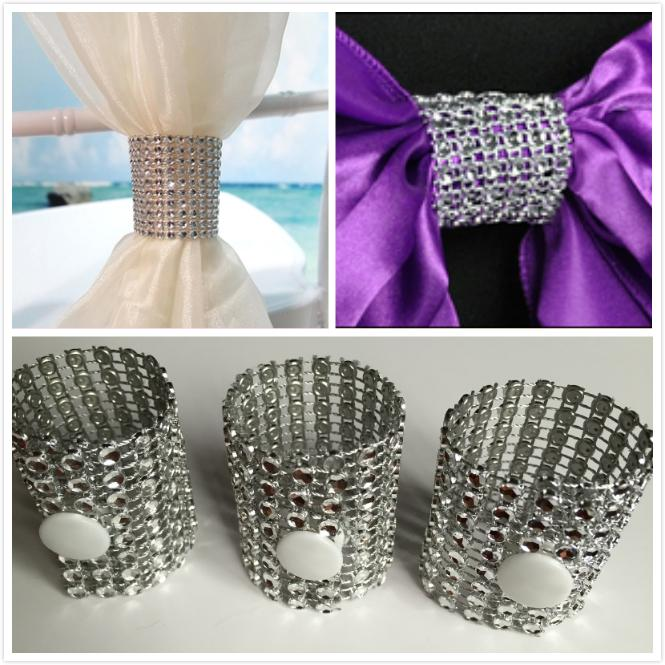 Silver Beaded Crystal Wedding Party Table Decoration Napkin Rings For Chair Sashes And Covers Luxury Wedding Party Bouquet Decorations