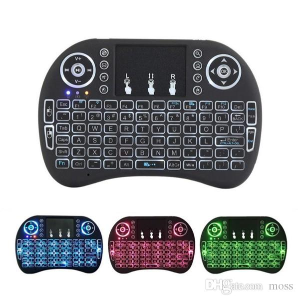Air Mouse Remote Rii Mini I8 Android TV Boxes Keyboards Backlight Backlit 2.4GHz Wireless Keyboard for Android 7 TV Boxes
