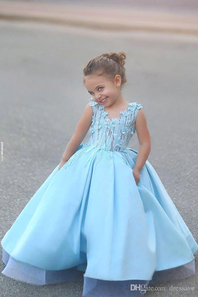 Prinzessin Ballkleider Blumenmädchenkleider für kleine Mädchen Mutter und Tochter Kleider Mädchen Festzug Kommunion Kleider