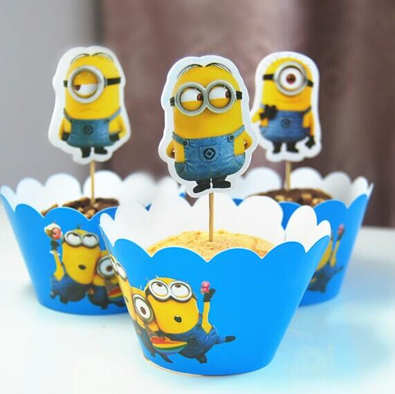 movie despicable me minions cupcake wrapper decorating boxes cake cup with toppers picks for kids birthday christmas decorations supplies cake decorating