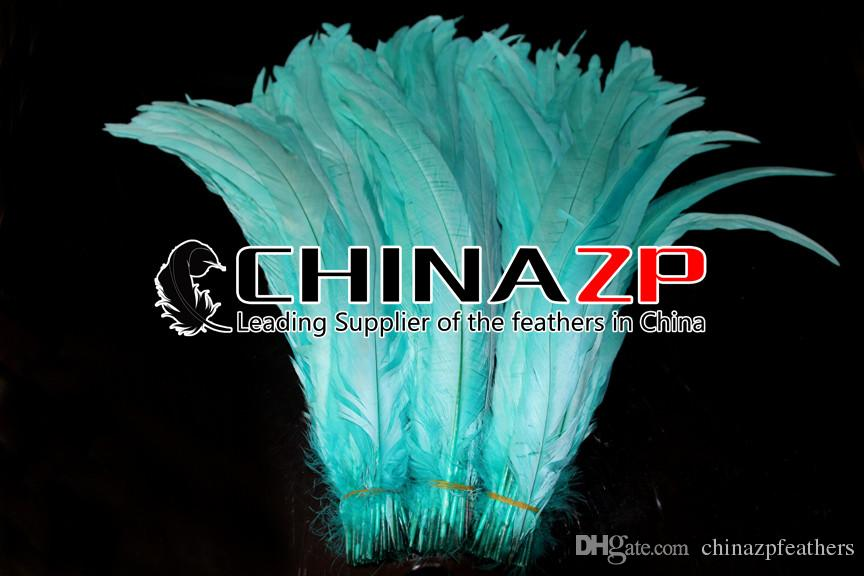 CHINAZP Crafts Factory 30~35cm12~14inch Good Quality Dyed Turquoise Blue Loose Rooster Tail Feathers for DIY Decorations