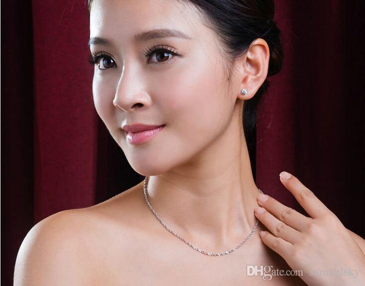 Großhandel Korea mode 925 sterling silber halskette für frauen Wasser welle kette Schmuck 10 Teile / los größe 400mm und 450mm breite 1,5mm