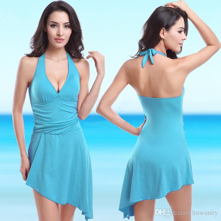 Sexy Women Swimsuits Bikinis Beach Swim Dresses For Women Plus Size One Piece Swimwears Swimming Wear Women Bathing Suit 0031SC-20