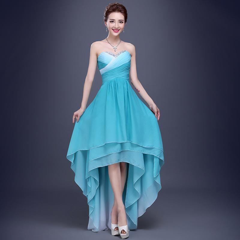 Elegance Prom Night Hi Lo Strapless Blue Chiffon Evening Dresses For ...