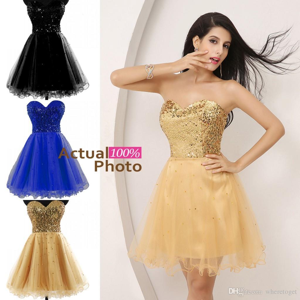 2019 Billiga korta klänningar för Prom Sequins Tulle En linje Sweetheart Beaded Gown Cocktail Party Formell Klänning På Stock SD032
