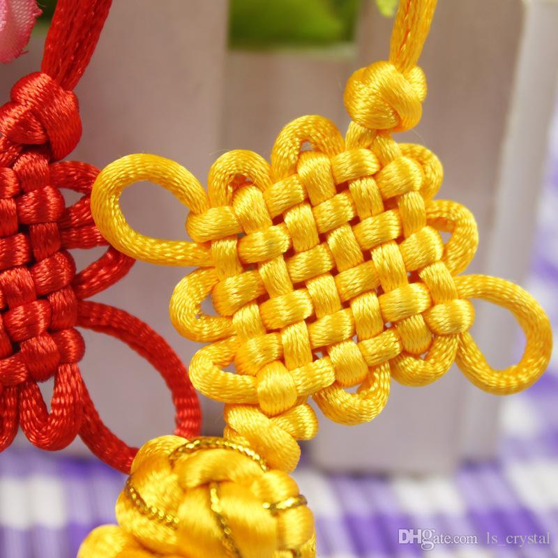 Geleneksel Sevimli Çince Knot Pretty Şanslı Toplar Araba Asılı Aksesuarları DIY Dokuma Zanaat Kolye İç Dekorasyon 100 adet / grup SK400