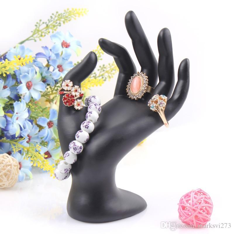 Black Velvet OK Hand Display Ring Bracelet Necklace Hanging Hand Jewelry Display Stands Holder Jewelry Organizer Show Rack Resin