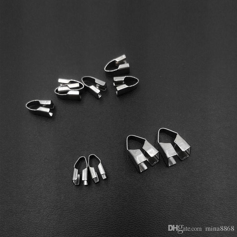 top quality bracelet/ Necklace Cord Crimp End Caps silver-color 2.5/3/3.5/4/5/5.5/10mm stainless steel connectors of chain handmade Jewelry