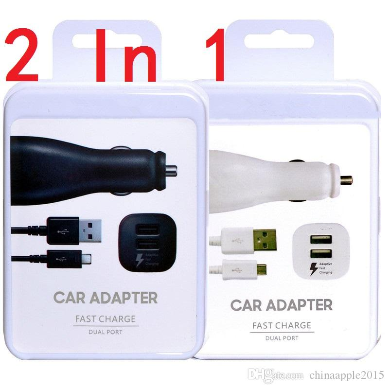 New 2 in 1 Fast Adaptive Dual usb ports car charger With 1.5M micro usb cable for samsung s6 s7 edge note 4 5 android phone with box