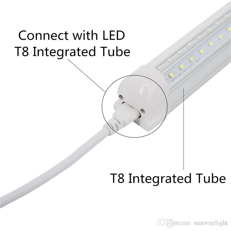 Fil de câble de connecteur de tube de la fin 3Pin LED de 1FT-5FT T5 T8 double, rallonge de T8 pour l'ampoule fluorescente intégrée de tube de LED, couleur blanche