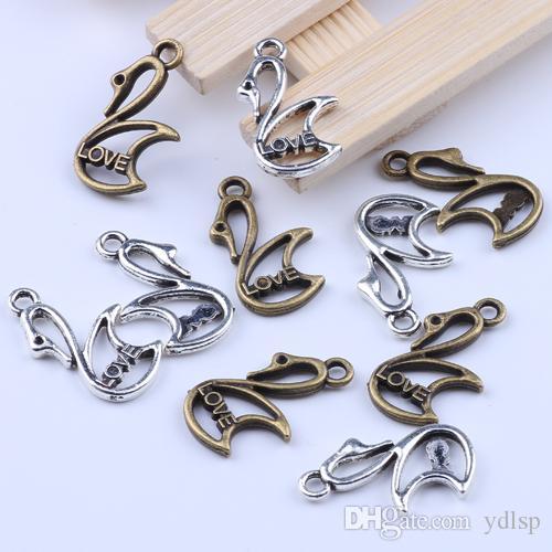 Новая мода серебро / медь ретро любовь Лебедь кулон производство DIY ювелирные изделия кулон fit ожерелье или браслеты Шарм 300 шт. / лот 2064 c