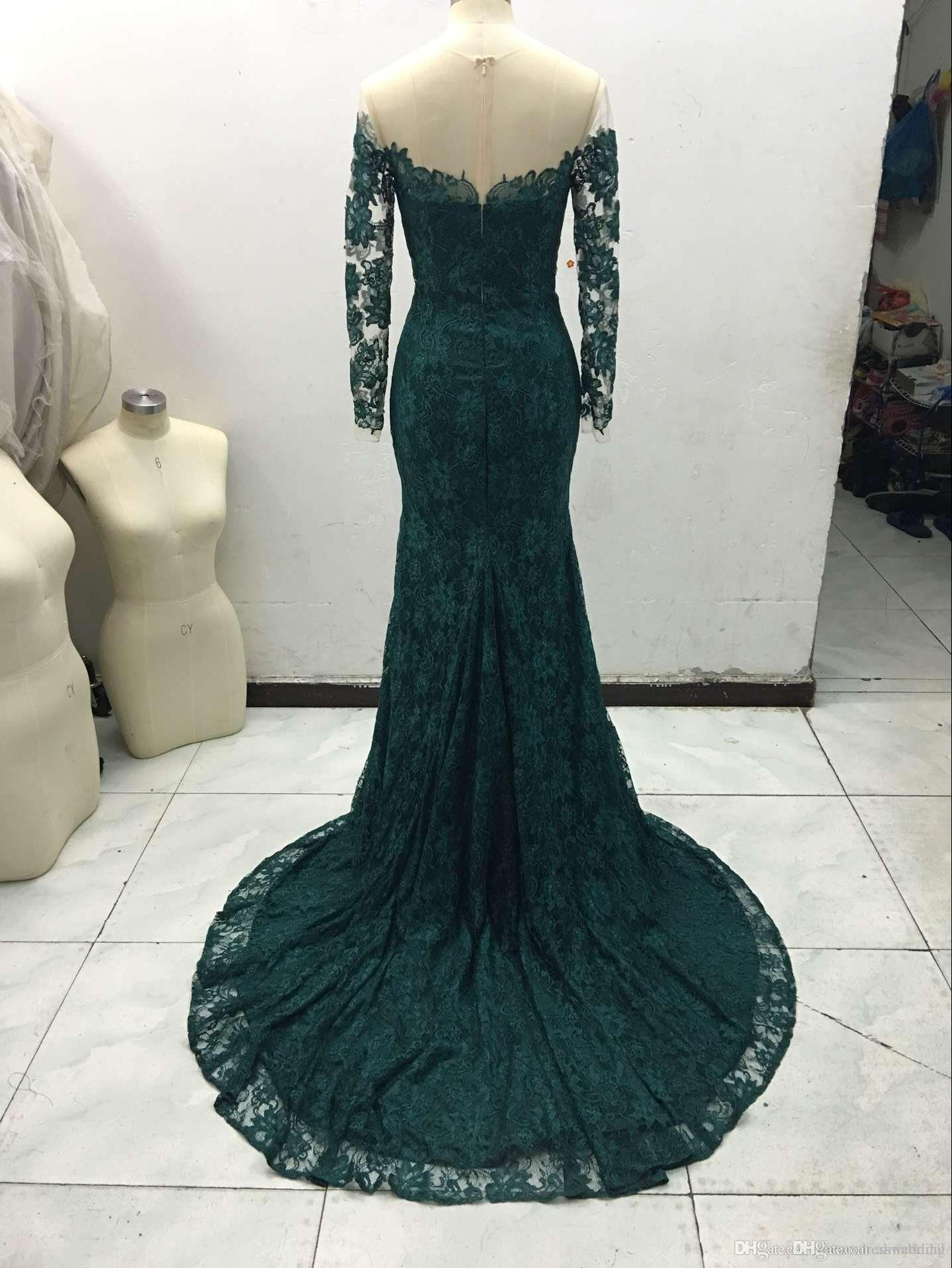Emerald Green Sheer Neck Evening Dresses with Long Sleeeve Ruffles Custom made real picture Mermaid Prom Gowns 2016 vestidos de Festa