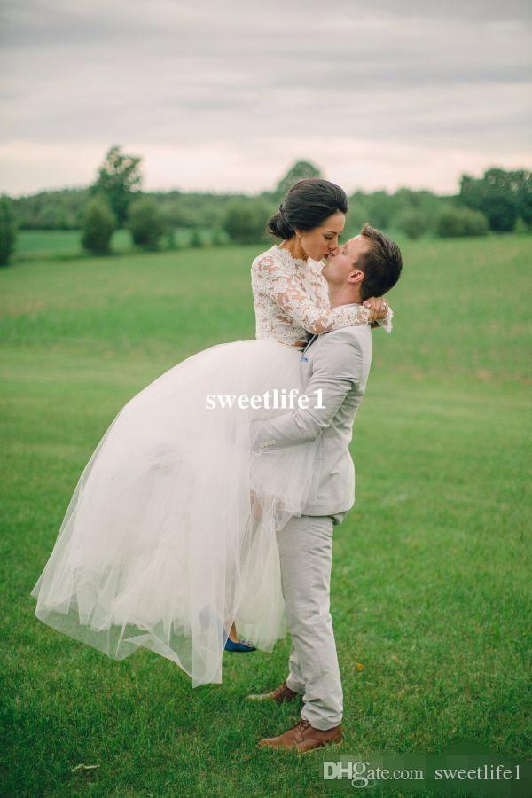 Hohe Niedrige Spitze Brautkleider 2020 A-Linie mit langen Ärmeln Brautkleider Tüll Schichten Illusion Zwei Stücke Braut-Kleid nach Maß