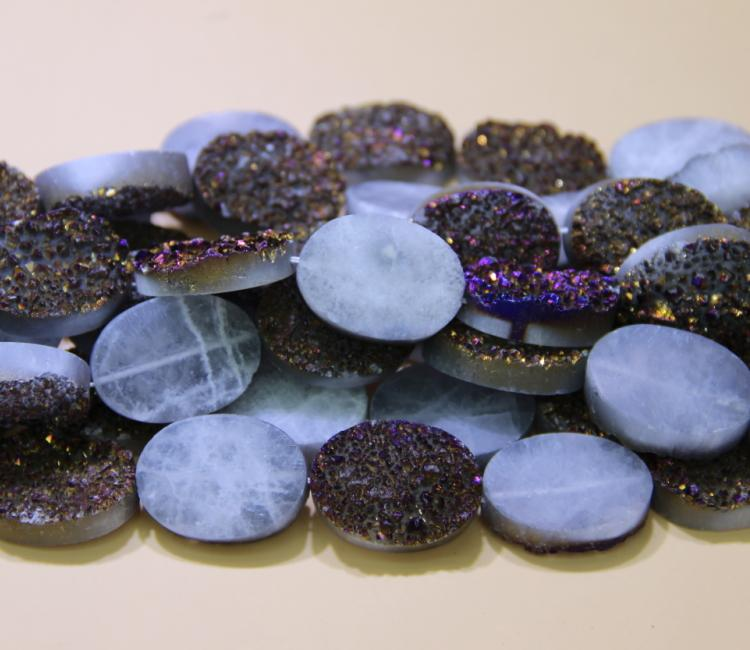 13X18mm 15.5inch 1Strand Titanium Purple Druzy Agate Beads, Natural Gem stone Drusy Crystal Quartz Necklace Pendant Jewelry Make Connector