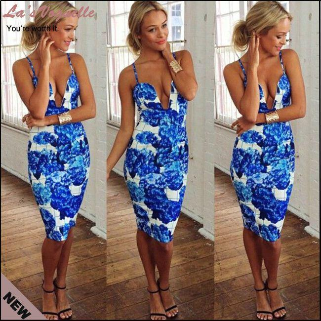 ae564ee6f0 Sexy Floral Print Dresses Women Summer Casual Dress Strapless V Neck Bodycon  Vestidos Blue Orange Elegant Evening Party Dresses Black Sundresses Cute  Party ...