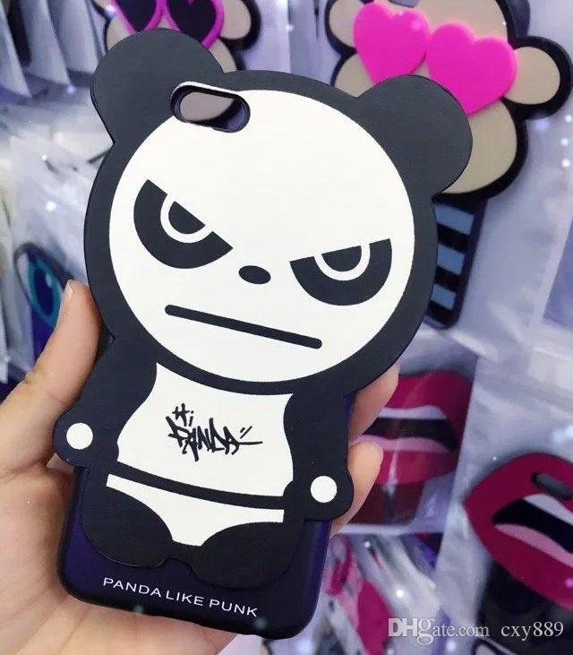 New Fashion Cool GD Dragon 3D Cartoon Cute Panda silicone case for Apple iphone 5 5s 6 6s plus chain pattern