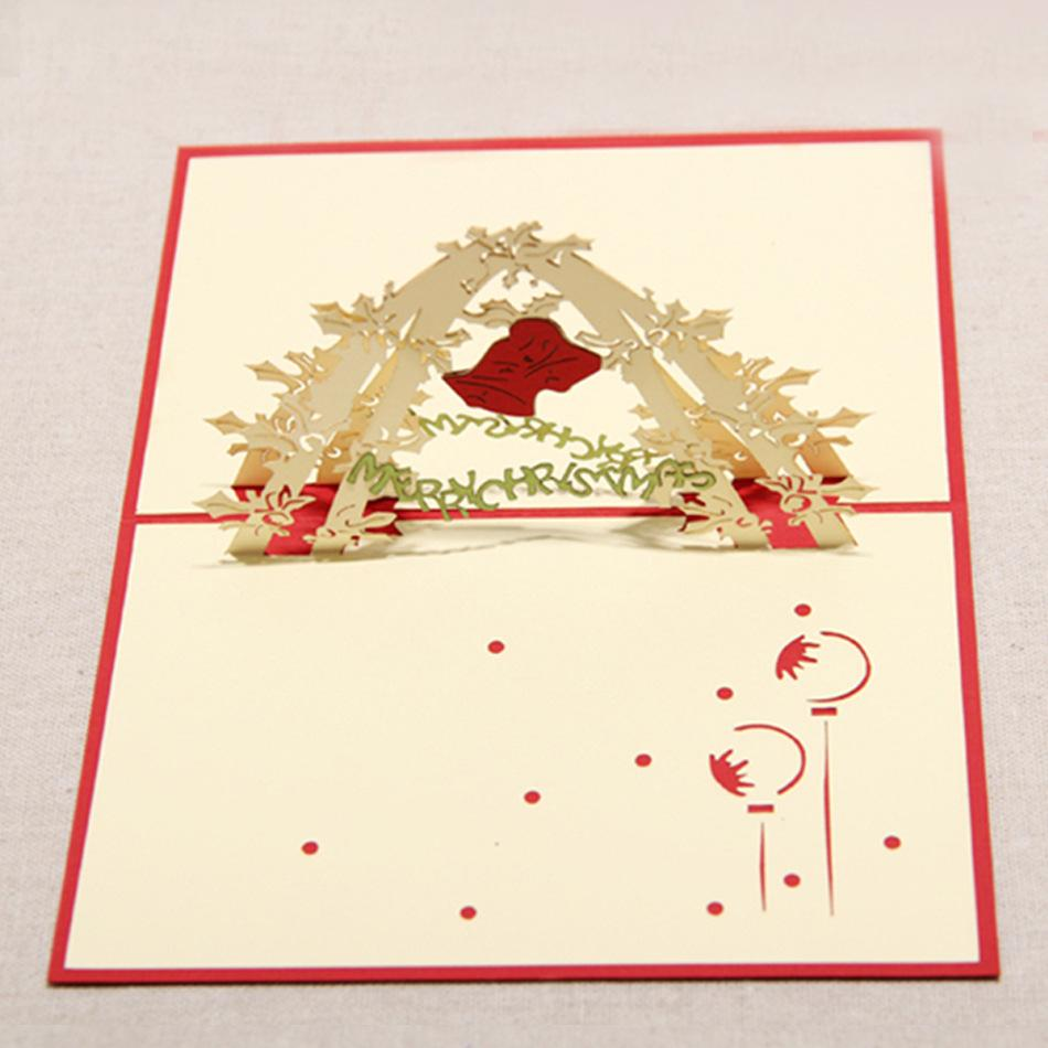 130mm*160mm High quality Handmade Christmas bell Greetings Cards Kirigami 3D Pop up Card Hot Sale Free Shipping