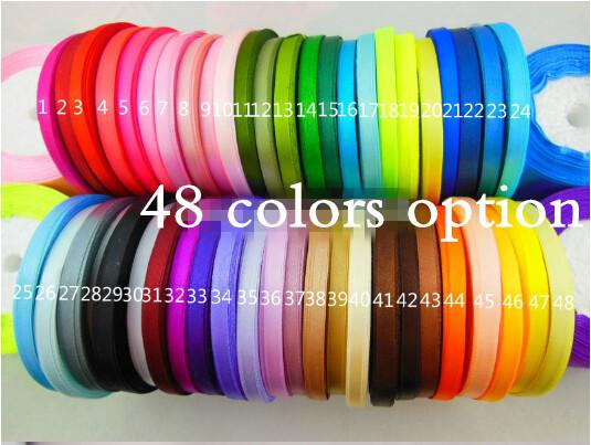 "15% off hot sale 1/4""6mm Single Face satin ribbon 25yards/roll 48 colors gift packing wedding decoration 2000yards drop shipping"