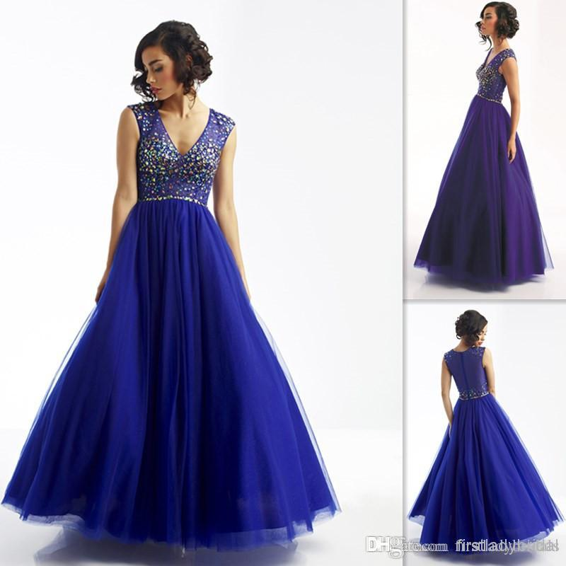 Blue Tulle Birthday Party Dresses For Women V Neck Beaded Crystals ...