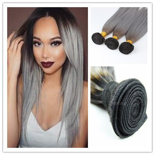 New arrival brazilian ombre silver grey hair weave 1bgray dark new arrival brazilian 3pcslot ombre silver grey hair weave 1bgray dark roots ombre two tone silky straight virgin human hair extensions pmusecretfo Images