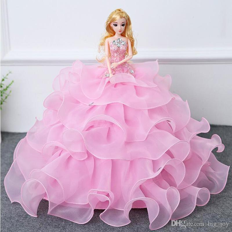Baby Doll Princess Barbie Wedding Brides Dolls Cake 3d Dress Whole Sale Retail Birthday Gifts Lovely Berenguer Talking