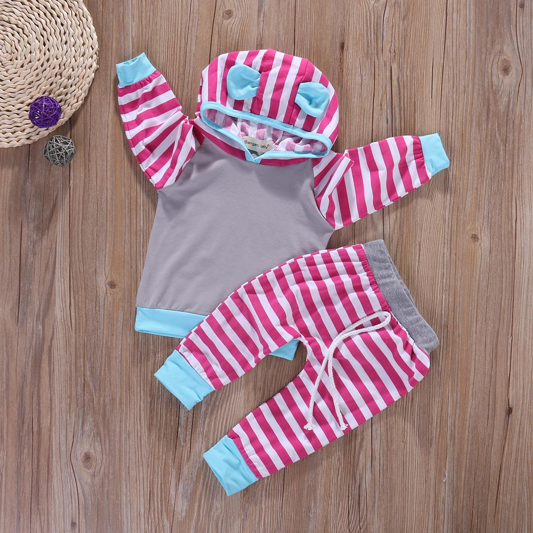 Online Cheap Wholesale Newborn Baby Girl Boy Clothes Striped Hooded