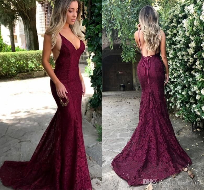 266c55179bd Amazing Sexy Maroon Prom Dresses 2018 Lace V Neck Spaghetti Strap Long  Evening Dress Backless Special Occasion Party Gowns Celebrity Prom Dresses  Custom ...