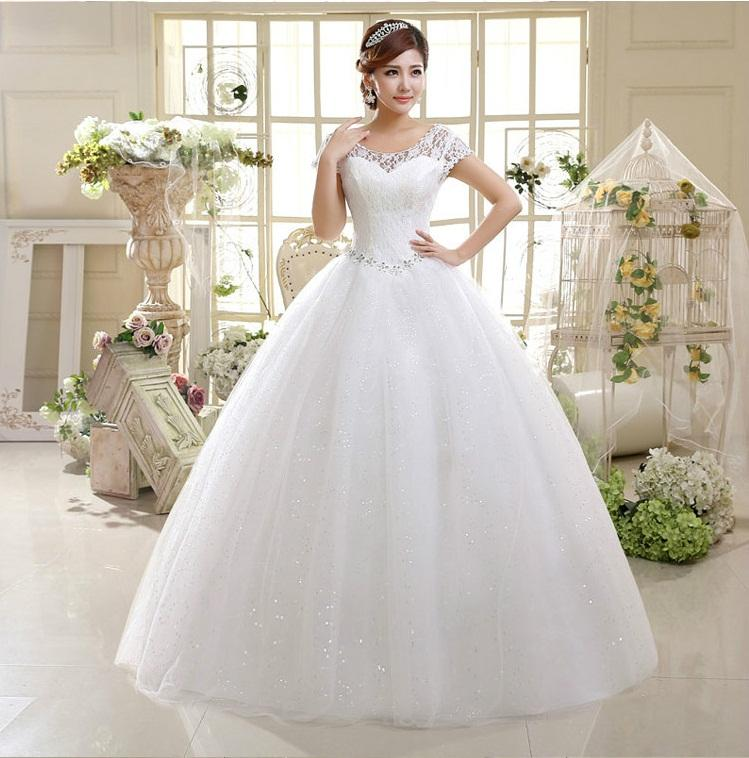 2015 Lace Ball Gown Wedding Dresses Scoop Cap Sleeve Crystal