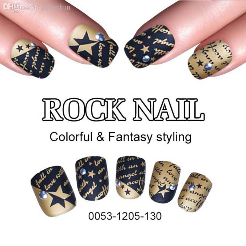 Wholesale New Fashion False Nail Art Tips Full Cover Rock Nails ...