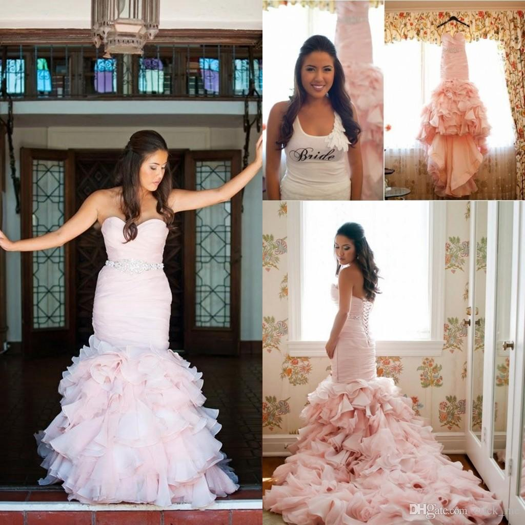 Real Image Pink Mermaid Wedding Dresses Swetheart Back Lace Up Tiered Beads  Pick Ups Beach Wedding Gown Organza Sashes Cheap Bridal Dress Affordable  Wedding ...