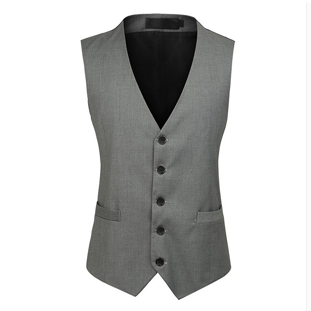 New Cotton Blend Gray Formal Slim Fit Business Single Breasted Tops Vest Suit Waistcoat With Pockets Design For Men