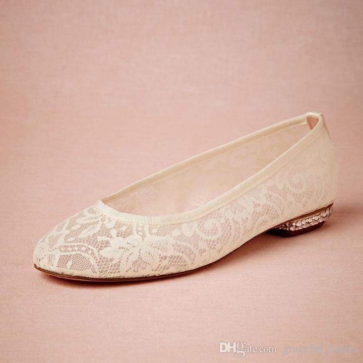 Beige Lace Wedding Shoes Flat Heel Round Toe Slip-ons Bridal Shoes ...