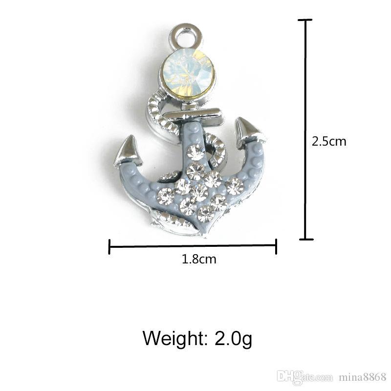 Großhandel DIY Anker Charm Anhänger für Schmuck DIY Metall Strass Rudder Charms für Schmuck machen Zubehör Erkenntnisse