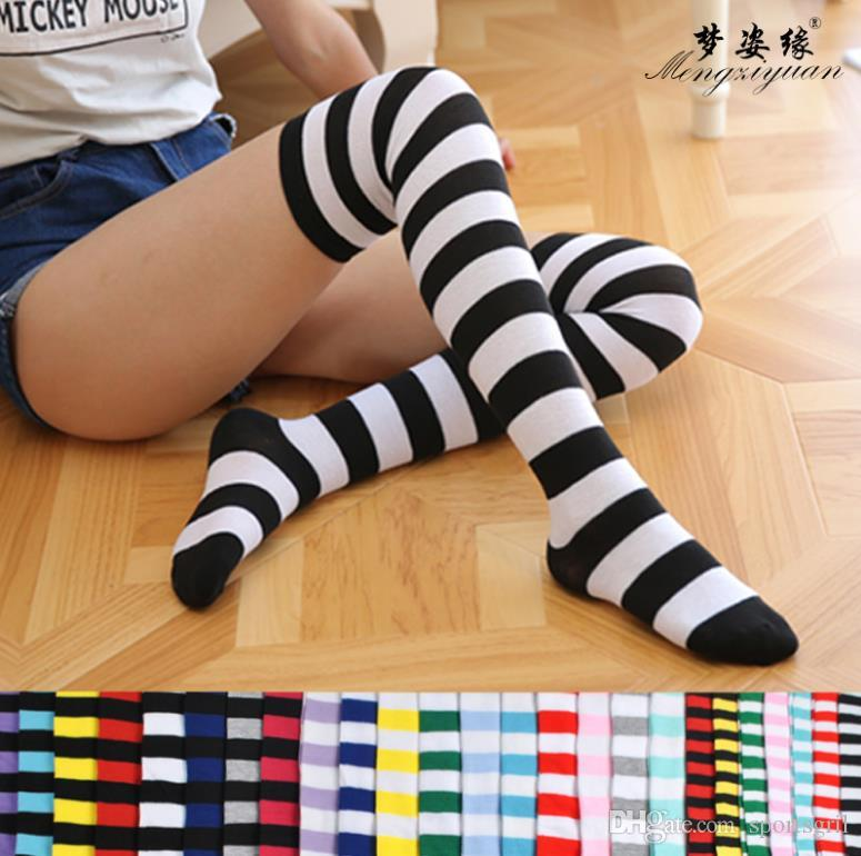 67022653a 2019 Women Ladies Knee High Socks Girls Student Stripes Over Knee Thigh Stockings  Cotton Long Knee Socks From Sportsgril