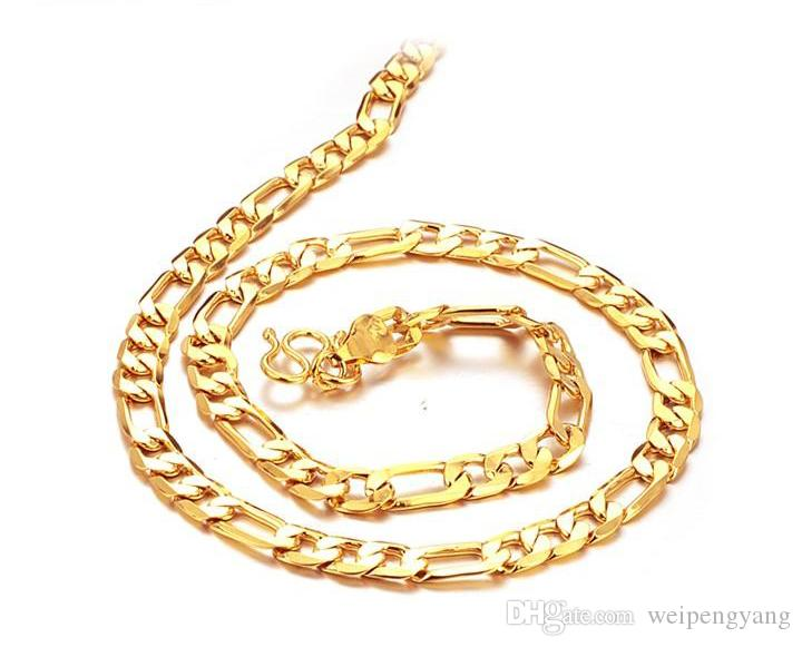 Оптовая цена 20 дюймов 20 г 18 к сплошной желтый золото заполненные / покрытием мужская ссылка ожерелье цепь длинное ожерелье мужчины ювелирные изделия