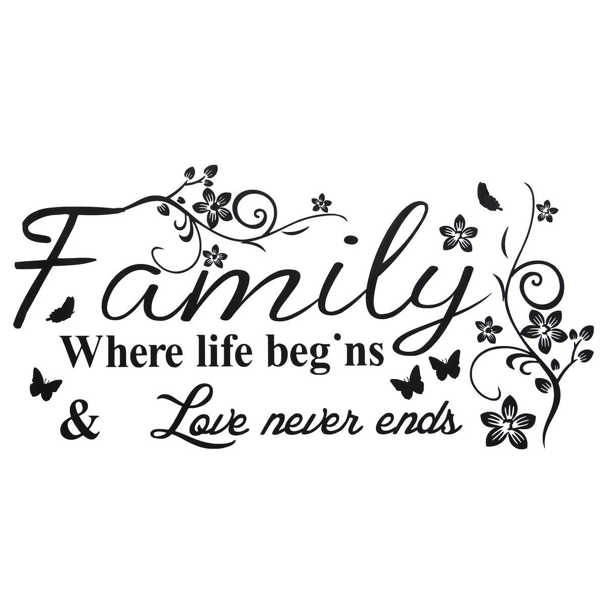 Life Quotes Kids: Beautiful Design Family Love Life Quote Wall Sticker Where