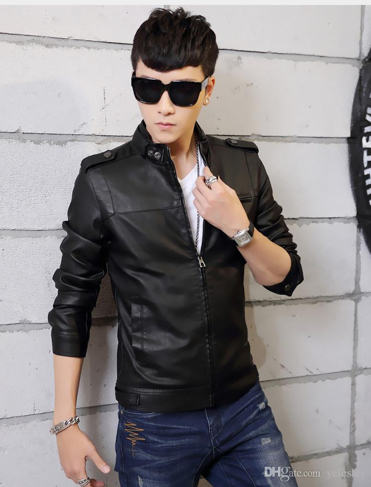Standing Collar High Quality Leather Jacket For Men Slim Warm Mens Leather Motorcycle Biker Jackets Outwear Coats