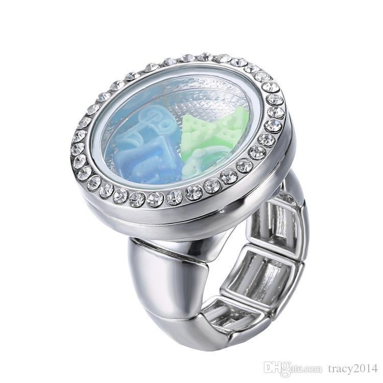 Кольца с плавающим медальоном Кристаллическая коробка Кольца Классические кольца для пуговиц Noosa Кольца из серебра 925 пробы Кольца с люминесцентными лампочками Светодиодные плавающие кольца с подвесками