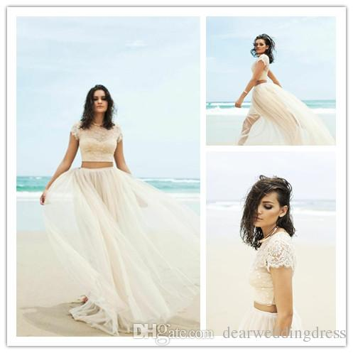 2015 Two Piece Wedding Dresses With Cap Sleeves Jewel Illusion ...