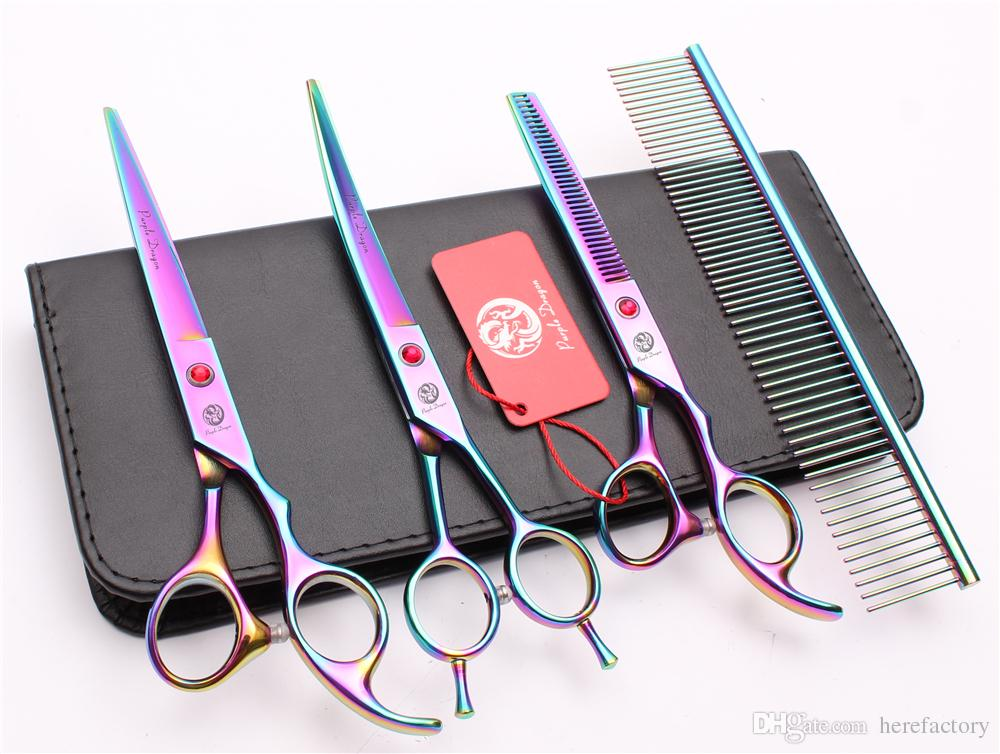 "Suit 7"" JP 440C Purple Dragon Professional Hair Hairdressing Scissors Comb + Cutting Shears + Thinning Scissor + UP Curved Shears Z3002"
