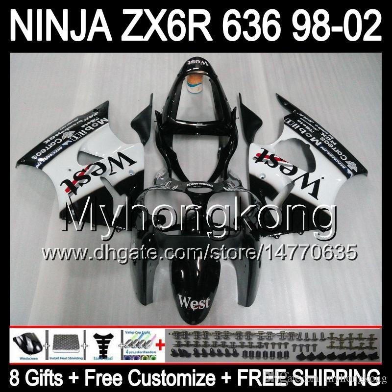 8Gifts + Cuerpo para Kawasaki ZX6R 98-02 ZX636 Negro al oeste ZX 636 ZX 6R ZX6R MY37 98 99 00 01 02 1998 1999 2000 2001 2002 carenado Blanca