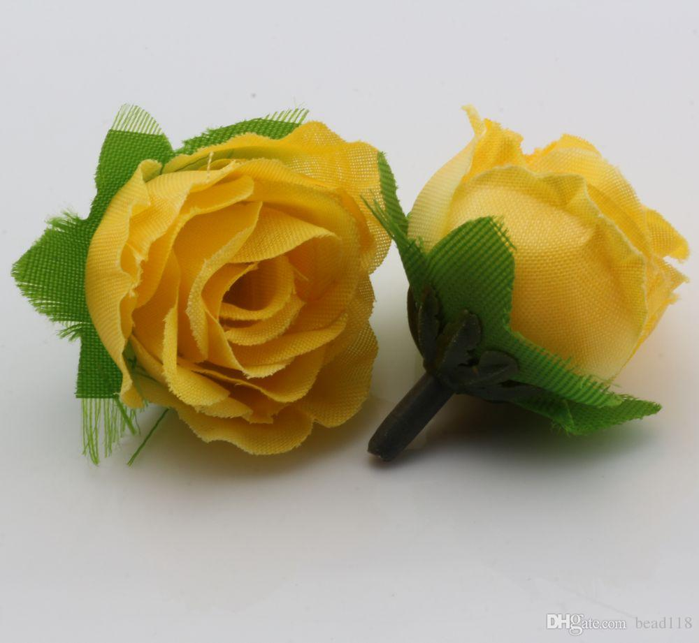 Hot Sale ! Yellow Tea Rose Flower Head Artificial Flowers Wedding flower 3cm