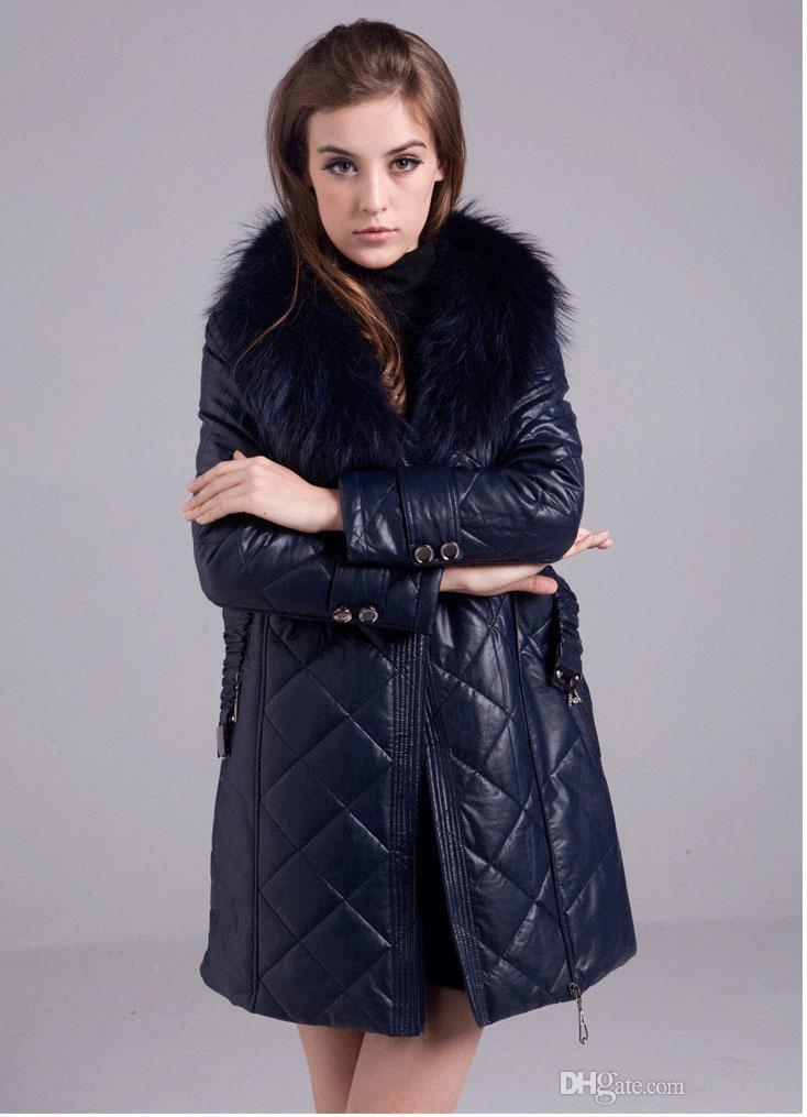 Winter New PU Leather Parka Coat For Women Raccoon Fur Collar Zip-Up Long Overcoat Outdoor Warm Overcoat Jacket M-2XL MGG1110