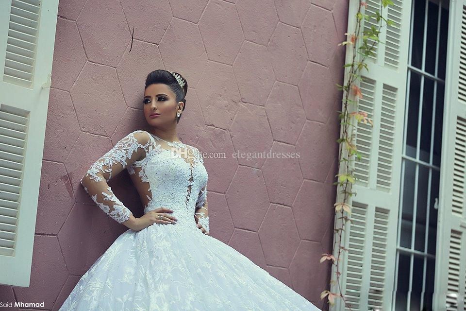 Spitze Brautkleider 2021 Brautkleider mit langen Ärmeln Vintage Wedding-Kleider mit SpitzeAppliques Sheer Zurück Royal Princess Kleider