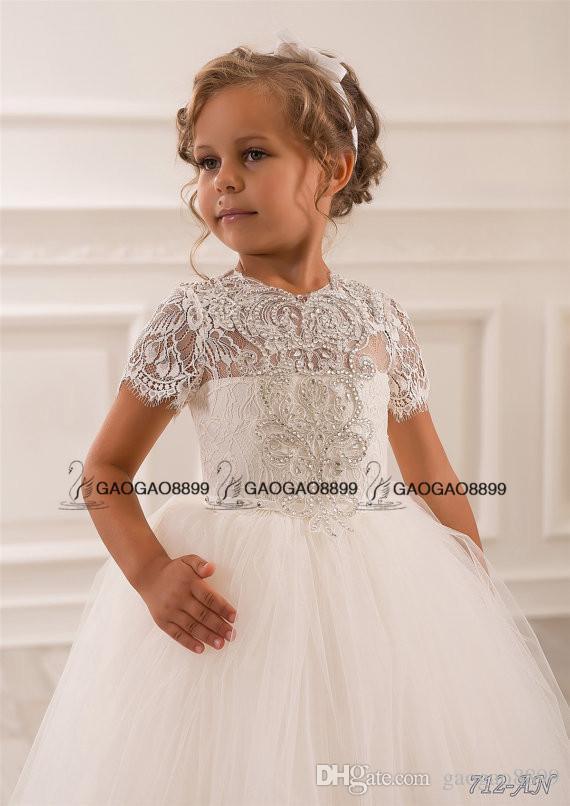 Dantel Boncuklu Küçük Kızlar Alayı Elbiseler Düğün Parti Tatil Nedime Doğum Günü Tül Dantel Fildişi Çiçek Kız Elbise