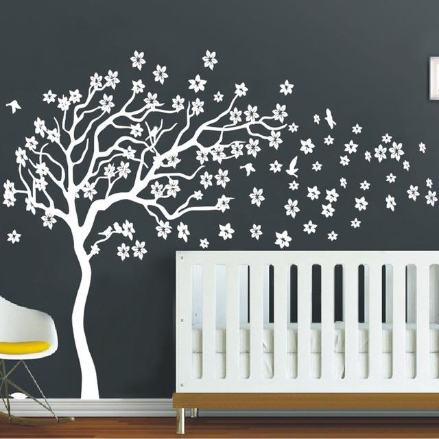 Huge White Tree Flowers Wall Decal Nursery Tree And Birds Wall Art - Wall decals nursery