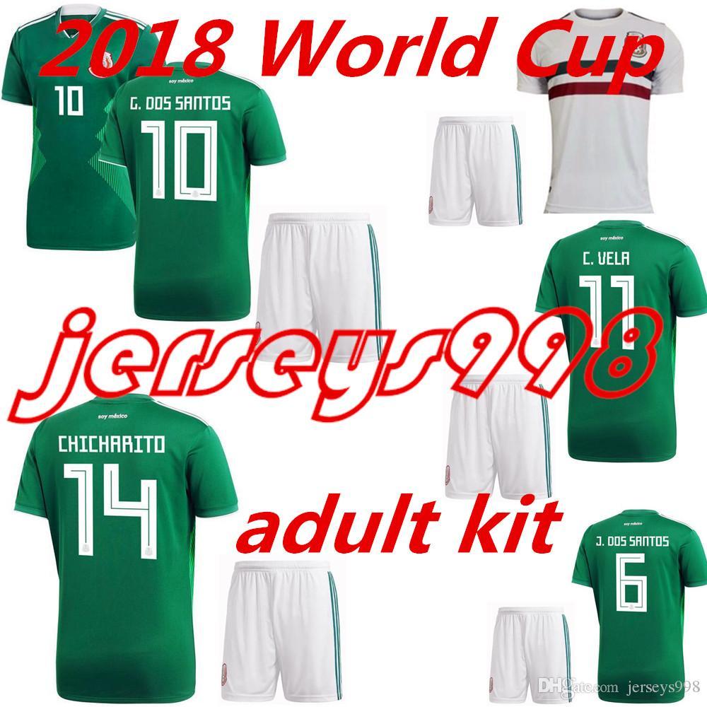 2019 2018 Mexico National Team Adult Mexico Kits Soccer Jerseys Uniform  Home Green Men Set 2018 World Cup G.Dos Santos CHICHARITO Football Shirts  From ... e7d396212