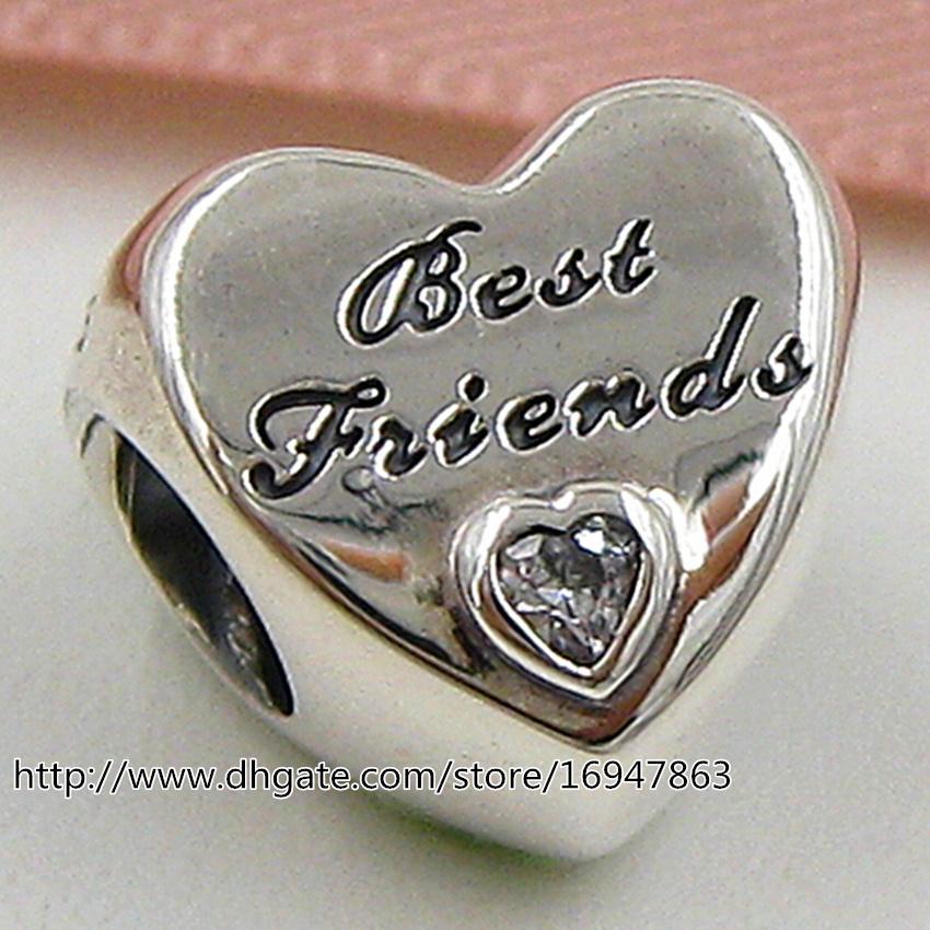 Дружба сердце Шарм S925 стерлингового серебра шарик с розовым Cz подходит Европейский Pandora ювелирные изделия браслеты ожерелья кулон