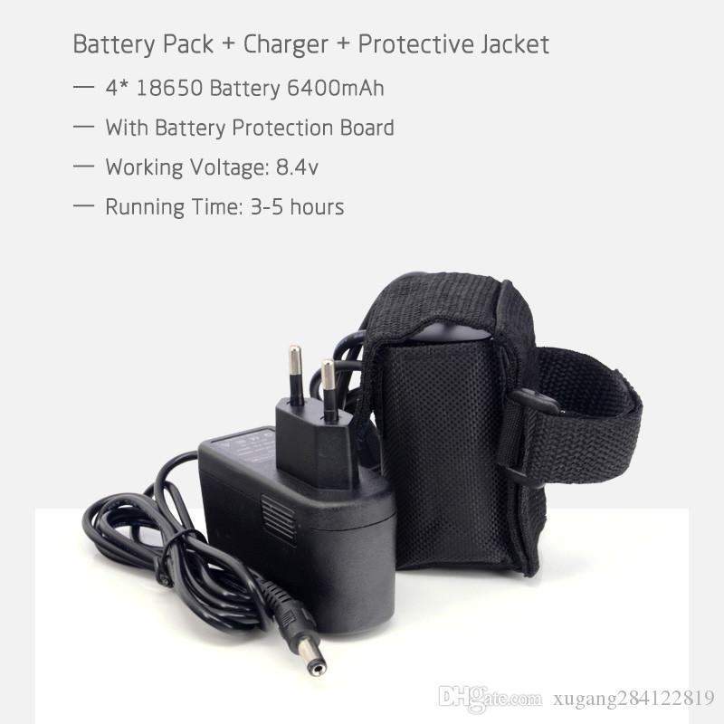 8.4V 6400mAh Batterie Rechargeable pour Pour 2 en 1 CREE XML-T6 LED Vélo Vélo Lampe Lumière phare phare + chargeur